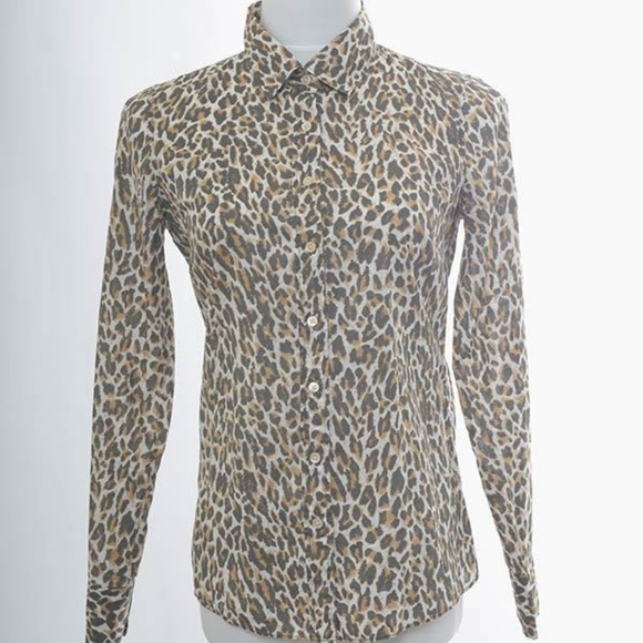 bf24759a9f73 J. Crew Tops | J Crew Perfect Shirt Button Front Leopard Print ...